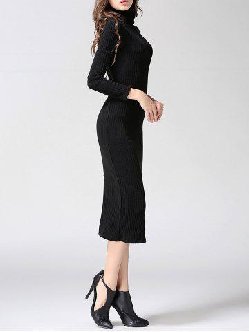 Chic Turtleneck Ribbed Bodycon Midi Knit Dress - L BLACK Mobile