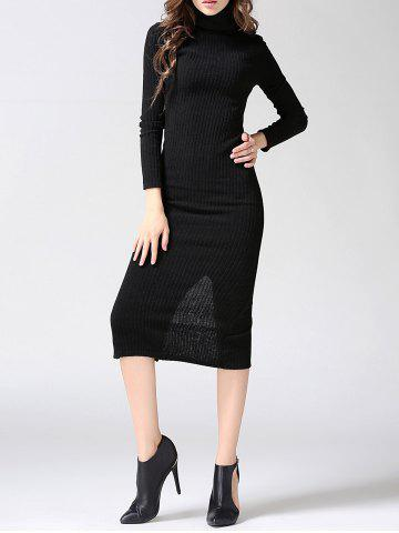 Outfit Turtleneck Ribbed Bodycon Midi Knit Dress - L BLACK Mobile