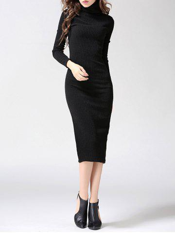 Shops Turtleneck Ribbed Bodycon Midi Knit Dress - L BLACK Mobile