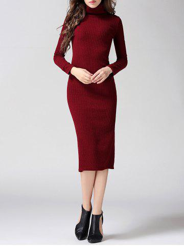 Chic Turtleneck Ribbed Bodycon Midi Knit Dress - L WINE RED Mobile