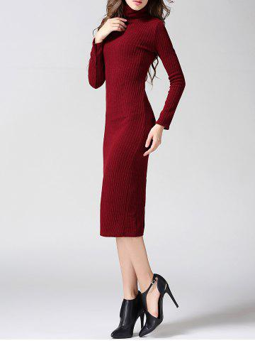 Discount Turtleneck Ribbed Bodycon Midi Knit Dress - L WINE RED Mobile
