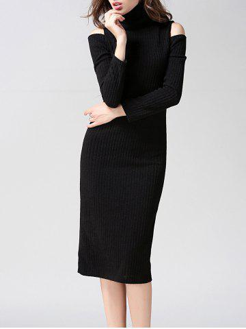 New Turtleneck Open Shoulder Bodycon Midi Knit Dress BLACK M