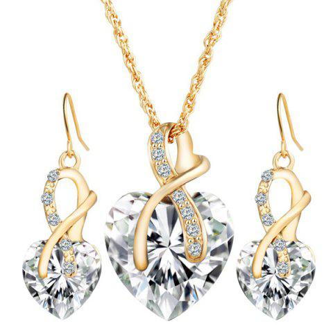 Fashion Faux Diamond Crystal Rhinestone Heart Wedding Jewelry Set
