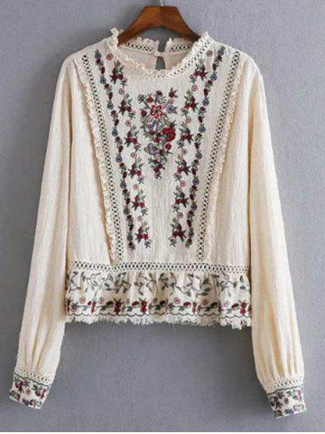 Chic Openwork Fringed Floral Embroidered Blouse OFF-WHITE L