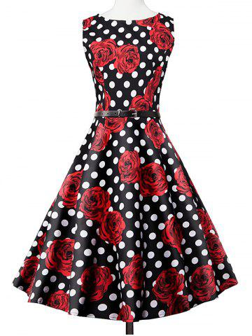 New Polka Dot Floral Print Sleeveless Vintage Tea Dress BLACK AND WHITE AND RED 2XL