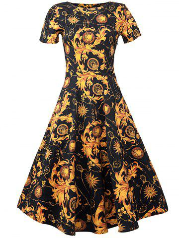 Trendy Retro Style Floral Fit and Flare Dress