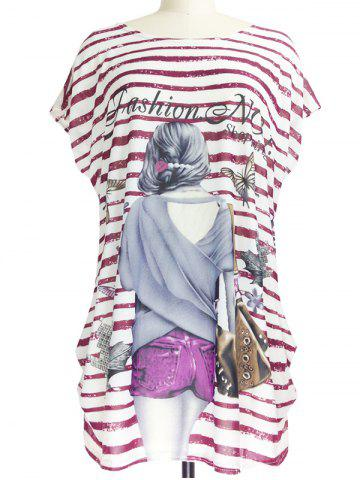 Latest Figure Print Striped Loose-Fitting T-Shirt