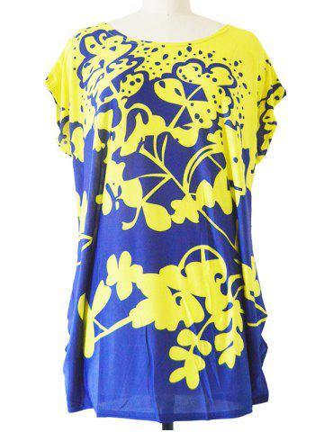 Outfit Abstract Floral Print Loose-Fitting T-Shirt