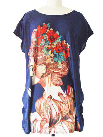 Online Ruched Loose-Fitting Figure Print T-Shirt