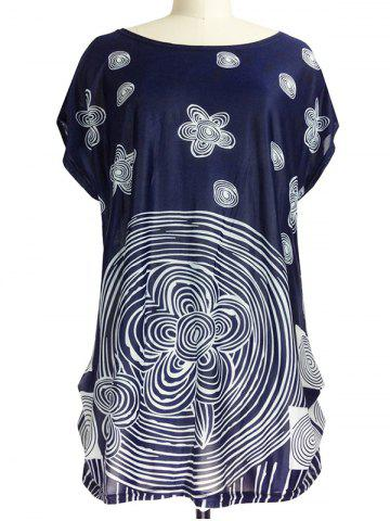 Buy Ruched Abstract Floral Print T-Shirt