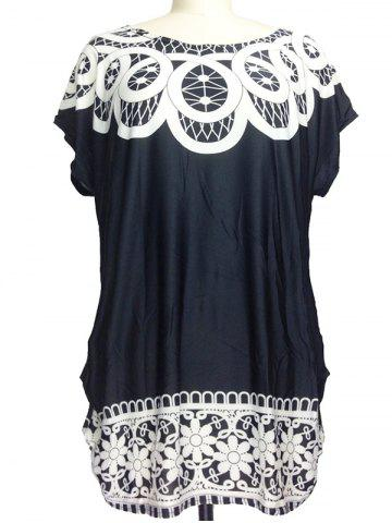 Fashion Printed Loose-Fitting Ruched T-Shirt