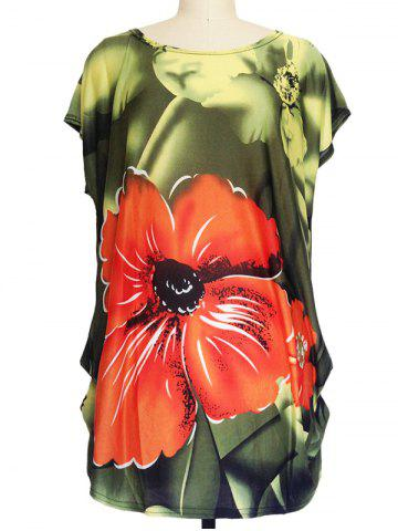 Shops Floral Print Ruched Loose-Fitting T-Shirt GREEN ONE SIZE