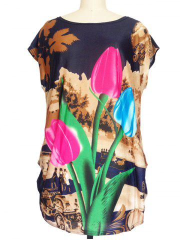Fancy 3D Floral Print Ruched Loose-Fitting T-Shirt