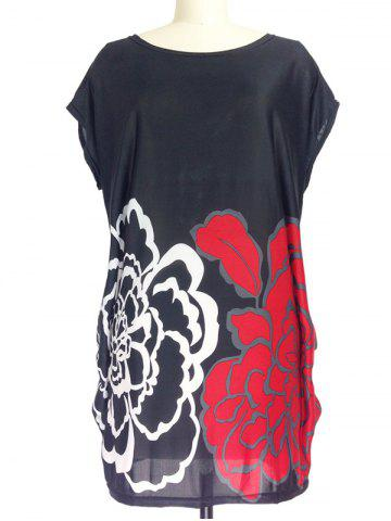 Cheap Ruched Floral Print Loose-Fitting T-Shirt