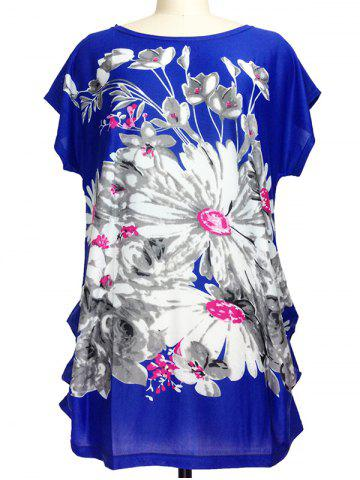 Latest Loose-Fitting Floral Print Ruched T-Shirt