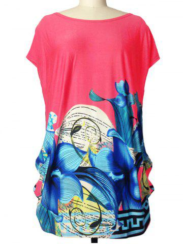 Outfits Loose-Fitting Lily Print Ruched T-Shirt