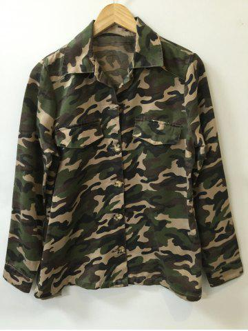 Trendy Camo Print Button Design Shirt