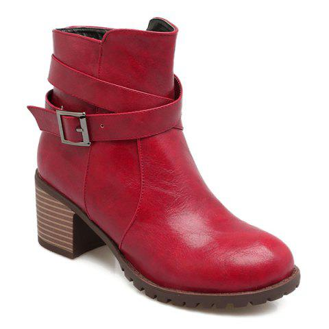 Outfit Cross Strap Chunky Heel Ankle Boots