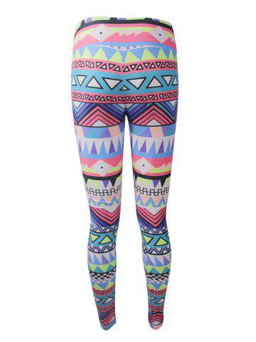 Cheap Geometric Colorful Print Christmas Leggings - 2XL COLORFUL Mobile
