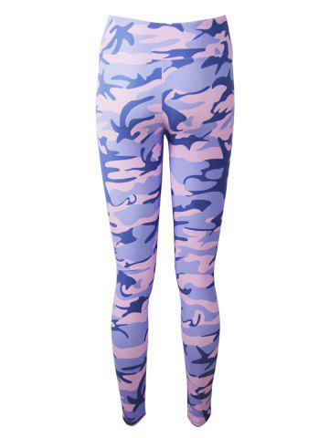 Outfits Active Camo Colorful Print Leggings - 2XL LIGHT PURPLE Mobile