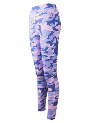New Active Camo Colorful Print Leggings - 2XL LIGHT PURPLE Mobile