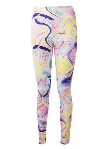 Hot Active Graffiti Colorful Print Leggings - M COLORMIX Mobile