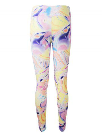 Latest Active Graffiti Colorful Print Leggings - M COLORMIX Mobile