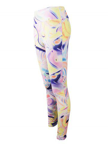 Online Active Graffiti Colorful Print Leggings - M COLORMIX Mobile