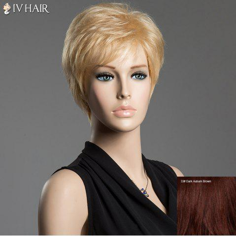 Unique Fluffy Natural Straight Siv Hair Short Side Bang Real Human Hair Wig DARK AUBURN BROWN
