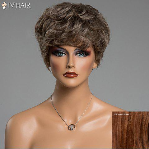Trendy Various Color Short Siv Hair Capless Fluffy Curly Real Human Hair Wig AUBURN BROWN