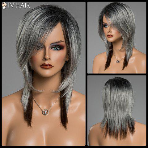 Outfit Assorted Color Medium Straight Human Hair Side Bang Siv Hair Capless Wig COLORMIX