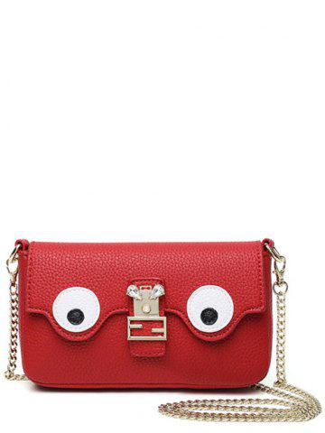 Color Splicing Faux Pearl Magnetic Closure Crossbody Bag - Red