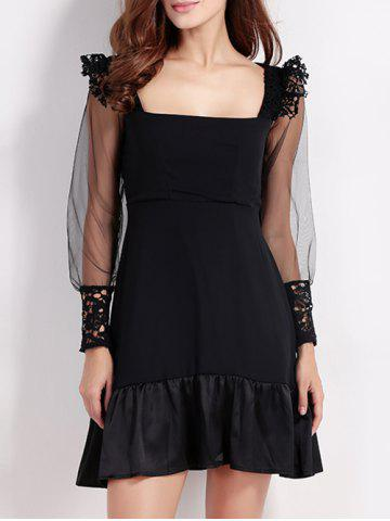 Cheap Lacework Flounced Mesh Spliced Black Dress BLACK 2XL