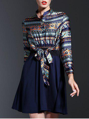 Fashion Ethnic Print Spliced Tied-Up Dress PURPLISH BLUE 2XL