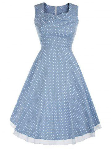 Latest Vintage Style Polka Dot Swing Dress LIGHT BLUE S