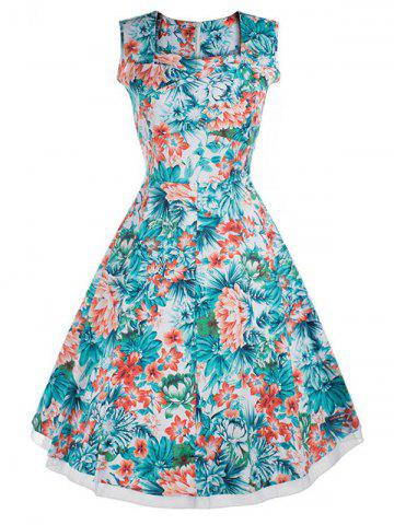 Latest Vintage Style Flower Print Swing Dress FLORAL 3XL