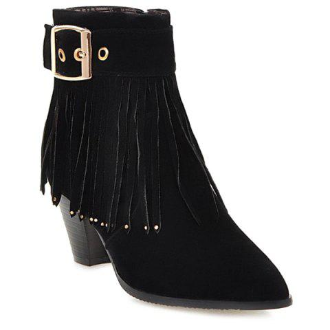 Outfit Pointed Toe Fringe Buckle Short Boots