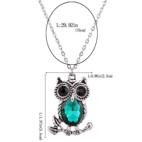 Outfits Owl Rhinestone Sweater Chain - BLACKISH GREEN  Mobile