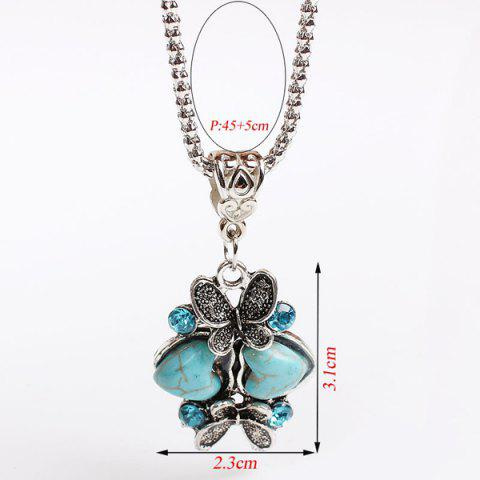 Outfit Heart Butterfly Sweater Chain - TURQUOISE  Mobile