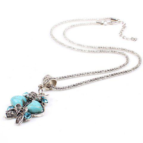 Outfits Heart Butterfly Sweater Chain - TURQUOISE  Mobile