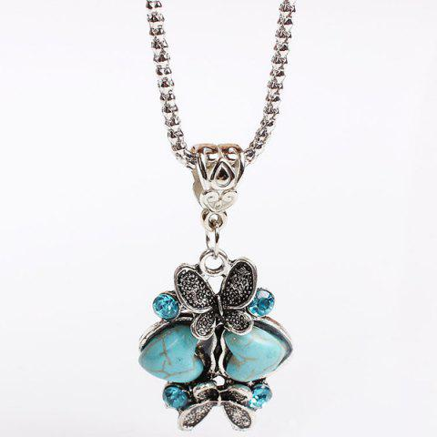 Discount Heart Butterfly Sweater Chain - TURQUOISE  Mobile