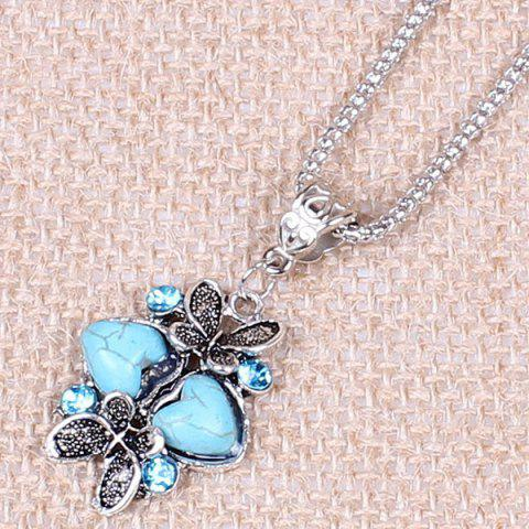 Buy Heart Butterfly Sweater Chain - TURQUOISE  Mobile