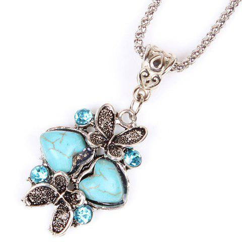Store Heart Butterfly Sweater Chain - TURQUOISE  Mobile