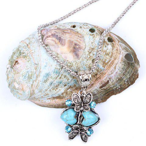 New Heart Butterfly Sweater Chain - TURQUOISE  Mobile