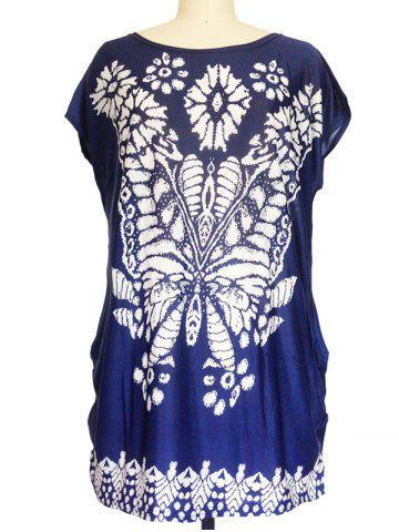 Store Abstract Butterfly Print Loose-Fitting T-Shirt