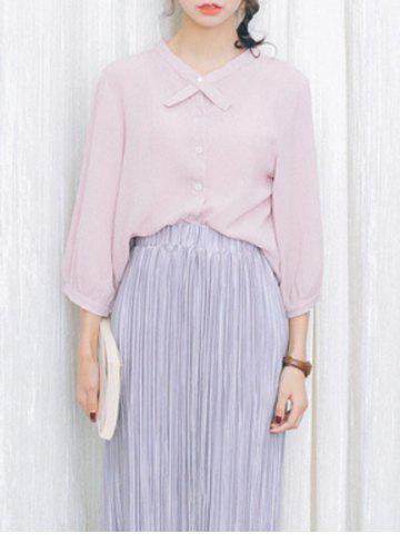 Discount Loose-Fitting Puff Sleeves Bowtie Collar Blouse