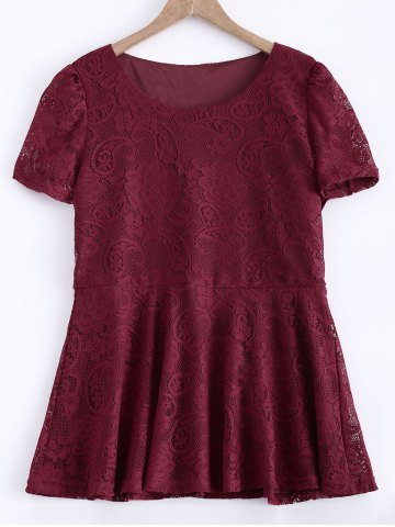 Shop Waisted Frilled Lace Blouse WINE RED XL