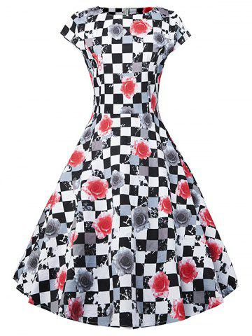 Plaid Floral Print Short Sleeve A Line Dress - Black And White And Red - S