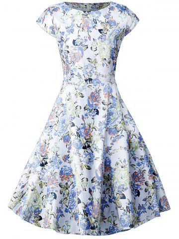Floral Short Sleeve A Line Dress - FLORAL M