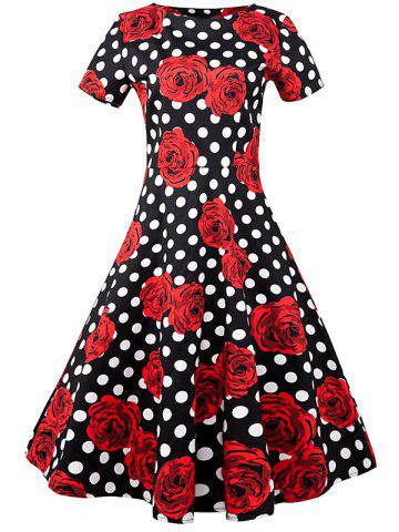 Fashion Floral Polka Dot A Line Vintage Dress BLACK AND WHITE AND RED XL